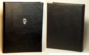 Black leather binder with silver pewter skull concho